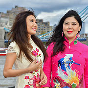 "Chinese Soprano 王蓓蓓,Wang Beibei (L) and  朱珍,Jane Maria sings 我和我的祖国,Me and my country to celebration of the 70th China National Day 2019 and a Chinese ""Qipao"" flash mob, London, 28 September 2019, UK."