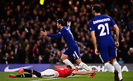 Alvaro Morata of Chelsea reacts after a disallowed goal .Premier league match, Chelsea v Manchester United at Stamford Bridge in London on Sunday 5th November 2017.<br /> pic by Andrew Orchard sports photography.