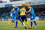 Scunthorpe United forward Kyle Wootton (29) and Gillingham FC defender Connor Ogilvie (34) (right) during the EFL Sky Bet League 1 match between Gillingham and Scunthorpe United at the MEMS Priestfield Stadium, Gillingham, England on 16 February 2019.