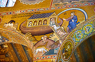 Medieval Byzantine style mosaics of the Bible story of Noah's ark Palatine Chapel, Cappella Palatina, Palermo, Italy .<br /> <br /> If you prefer you can also buy from our ALAMY PHOTO LIBRARY  Collection visit : https://www.alamy.com/portfolio/paul-williams-funkystock/byzantine-art-antiquities.html . Type -    Palatine     - into the LOWER SEARCH WITHIN GALLERY box. Refine search by adding background colour, place, museum etc<br /> <br /> Visit our BYZANTINE MOSAIC PHOTO COLLECTION for more   photos  to download or buy as prints https://funkystock.photoshelter.com/gallery-collection/Roman-Byzantine-Art-Artefacts-Antiquities-Historic-Sites-Pictures-Images-of/C0000lW_87AclrOk