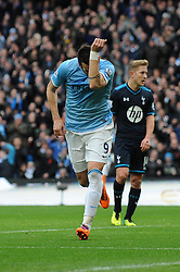 Manchester City's Alvaro Negredo celebrates his goal. - Photo mandatory by-line: Dougie Allward/JMP - Tel: Mobile: 07966 386802 24/11/2013 - SPORT - Football - Manchester - Etihad Stadium - Manchester City v Tottenham Hotspur - Barclays Premier League