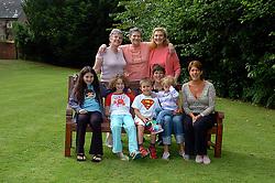 Myra Franks, Vaness Goss with Tally & Woody, Maddie Gaiman, Leigh Wheatley, Rhoda Zeffertt, Sheila Gaiman. <br /> 8th July 2005