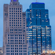 Vertical photos of Power and Light Building highrise in downtown Kansas City, lit blue for 2015 Royals World Series. Building undergoing renovation into residential apartment units.