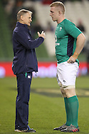 Ireland Head Coach Joe Schmidt gives instructions to James Tracy during the warm up for the 2016 Guinness Series  autumn international rugby match, Ireland v Canada at the Aviva Stadium in Dublin, Ireland on Saturday 12th November 2016.<br /> pic by  John Halas, Andrew Orchard sports photography.