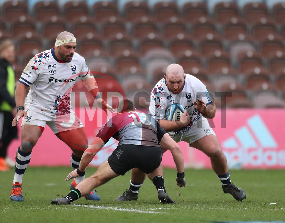 Yann Thomas of Bristol Bears is tackled by James Lang of Harlequins - Mandatory by-line: Matt Impey/JMP - 26/12/2020 - RUGBY - Twickenham Stoop - London, England - Harlequins v Bristol Bears - Gallagher Premiership Rugby