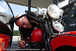 Erik Dunk with his 1937 Harley-Davidson EL during the Cross Country Chase motorcycle endurance run from Sault Sainte Marie, MI to Key West, FL. (for vintage bikes from 1930-1948). Stage-9 covered 259 miles from Lakeland, FL to Miami, FL USA. Saturday, September 14, 2019. Photography ©2019 Michael Lichter.