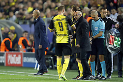 (L-R) Andriy Yarmolenko of Borussia Dortmund, coach Peter Bosz of Borussia Dortmund during the UEFA Champions League group H match between Borussia Dortmund and Real Madrid on September 26, 2017 at the Signal Iduna Park stadium in Dortmund, Germany.