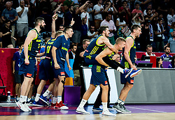 Goran Dragic of Slovenia, Edo Muric of Slovenia, Gasper Vidmar of Slovenia celebrate during basketball match between National Teams of Slovenia and Spain at Day 15 in Semifinal of the FIBA EuroBasket 2017 at Sinan Erdem Dome in Istanbul, Turkey on September 14, 2017. Photo by Vid Ponikvar / Sportida