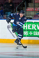 PENTICTON, CANADA - SEPTEMBER 9: Antoine Crete-Belzile #72 of Winnipeg Jets skates with the puck against the Edmonton Oilers on September 9, 2017 at the South Okanagan Event Centre in Penticton, British Columbia, Canada.  (Photo by Marissa Baecker/Shoot the Breeze)  *** Local Caption ***
