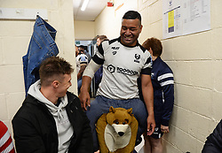 Siale Piutau of Bristol Bears enters the dressing room in fancy dress - Mandatory by-line: Richard Lee/JMP - 18/05/2019 - RUGBY - Kingston Park Stadium - Newcastle upon Tyne, England - Newcastle Falcons v Bristol Bears - Gallagher Premiership Rugby