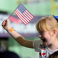 A young supporter waits for the arrival of Rick Santorum at  Penn United Technologies Inc. headquarters in Cabot, Pennsylvania, near Pittsburgh on May 27, 2015. Rick Sontorum went on to announce that he will be a Republication candidate for President in 2016.  Photo by Archie Carpenter/UPI