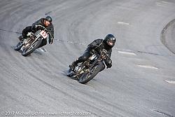 Matt Walksler racing his 1924 Harley-Davidson Model J 61 inch racer just ahead of Ebay Jake in Billy Lane's Sons of Speed vintage motorcycle racing during Biketoberfest. Daytona Beach, FL, USA. Saturday October 21, 2017. Photography ©2017 Michael Lichter.