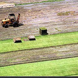 Aerial view of sod, Grass pads for distribution on Farms in the United States