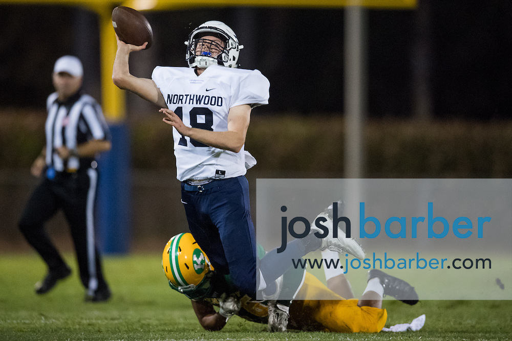 Northwood quarterback Cameron Kasey is sacked during the second quarter of a non-league game against Kennedy A nonleague football game between Northwood High School of Irvine and John F. Kennedy High School at Glover Stadium on Thursday, September 1, 2016 in Anaheim, California. (Photo/Josh Barber)