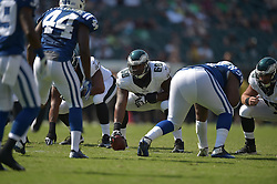 Josh Andrews #68 of the Philadelphia Eagles against the Indianapolis Colts at Lincoln Financial Field on August 16, 2015 in Philadelphia, Pennsylvania. The Eagles won 36-10. (Photo by Drew Hallowell/Philadelphia Eagles)