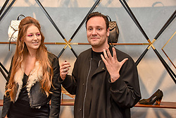 Liza Urla and Nicholas Kirkwood at a party hosted by Nicholas Kirkwood and Eva Fehren to celebrate Part 2 in the Nicholas Kirkwood presents series held at Nicholas Kirkwood, 5 Mount Street, London England. Eva Fehren is a fine jeweller, born and raised in New York City. Her collections are both inspired and created in the city, and via the Nicholas Kirkwood store, it is the first opportunity to view and shop the collection in London. 9 November 2017.