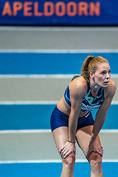 Nadine Broersen in action on 60 meter hurdle during the Dutch Athletics Championships on 14 February 2021 in Apeldoorn