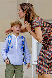 Crown Princess Mary of Denmark poses along with her son Prince Vincent outside Amalienborg palace in Copenhagen, Denmark, on Tuesday August 15, 2017. Prince Vincent and Princess Josephine, both born in 2011, begin in grade 0 at Tranegard School in Hellerup on Tuesday. The twins are the youngest children of the crown princely couple. Photo by Robin Utrecht/ABACAPRESS.COM