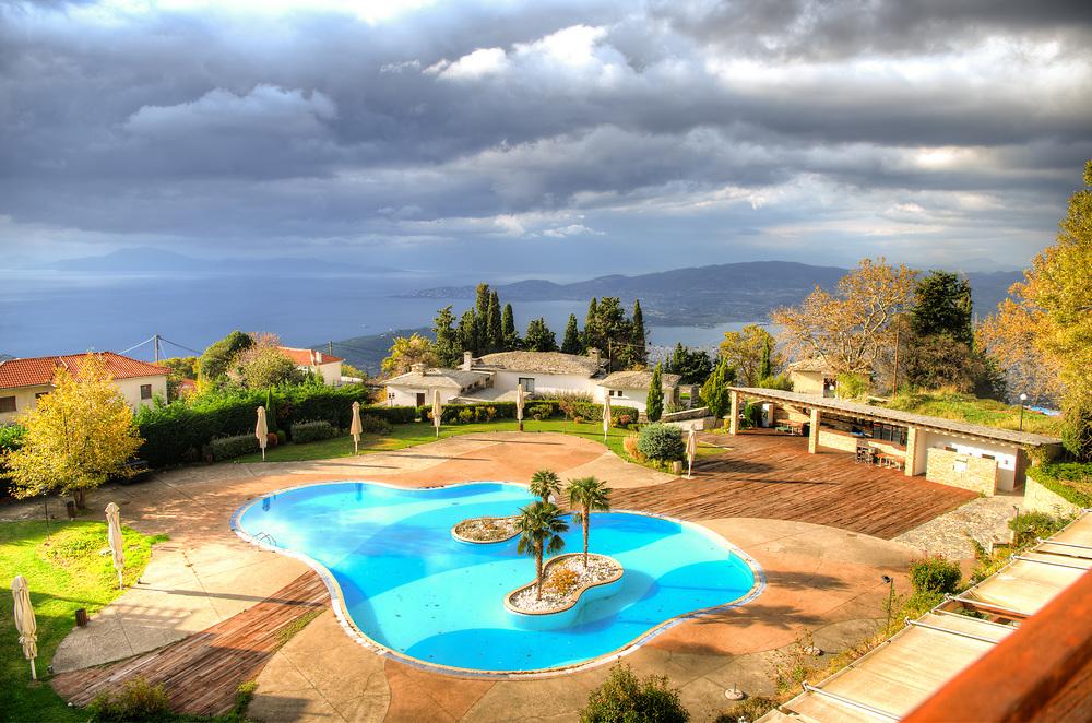 Hotel pool in Portaria, Greece