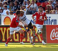 Fotball Tippeligaen 04.06.08 Rosenborg - ( RBK ) - Brann,<br /> Gylfi Einarsson, Steffen Iversen og Eirik Bakke,<br /> Foto: Carl-Erik Eriksson, Digitalsport