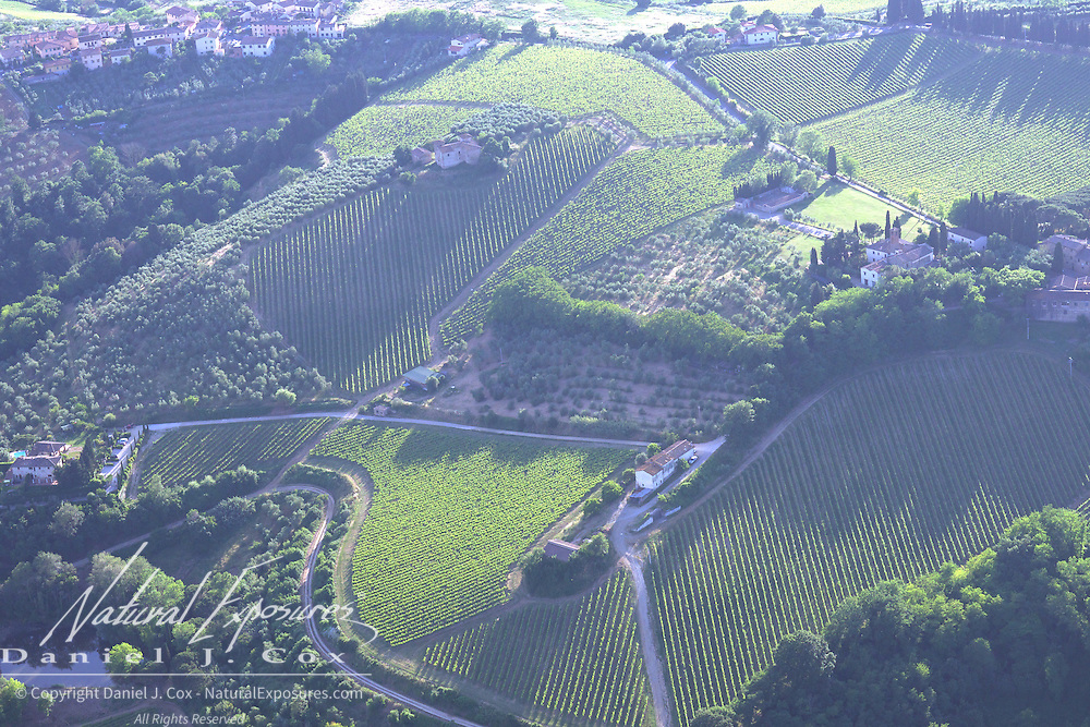 The rolling countryside on the outskirts of Florence, Italy,