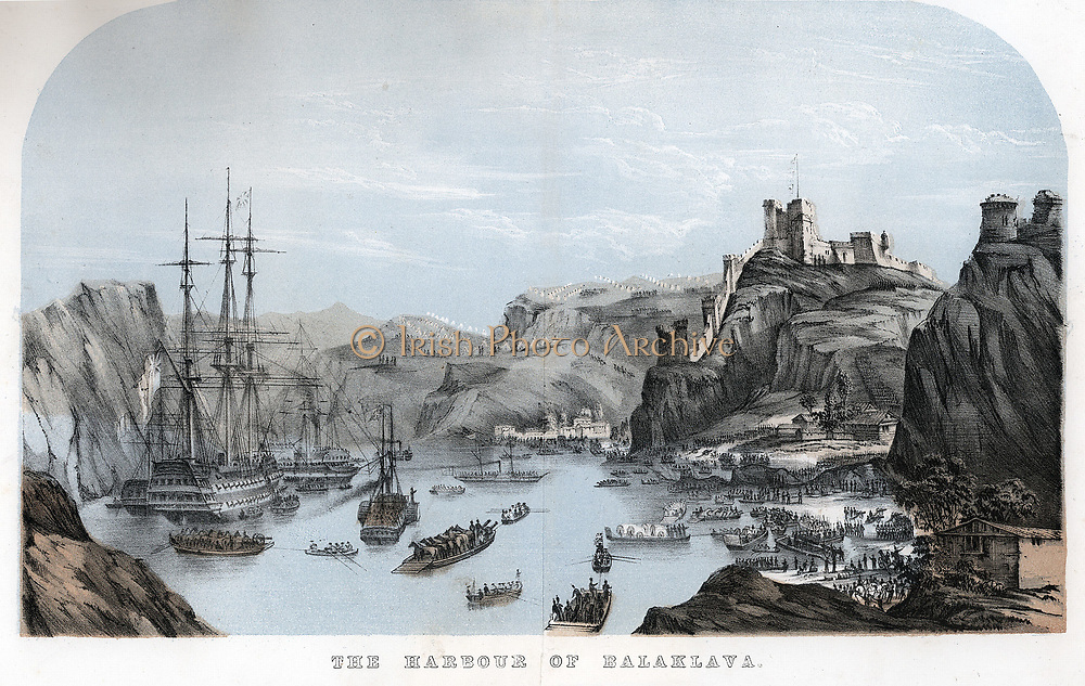 Crimean War (Russo-Turkish War) 1853-1856.  Unloading British troops, horses and equipment from transport vessels in Balaclava Harbour c1854.  Tinted lithograph c1860.