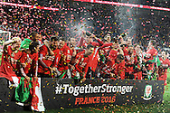 The Wales players celebrate after the match as the team qualify for Euro 2016 finals.  Wales v Andorra, Euro 2016 qualifying match at the Cardiff city stadium  in Cardiff, South Wales  on Tuesday 13th October 2015. <br /> pic by  Andrew Orchard, Andrew Orchard sports photography.