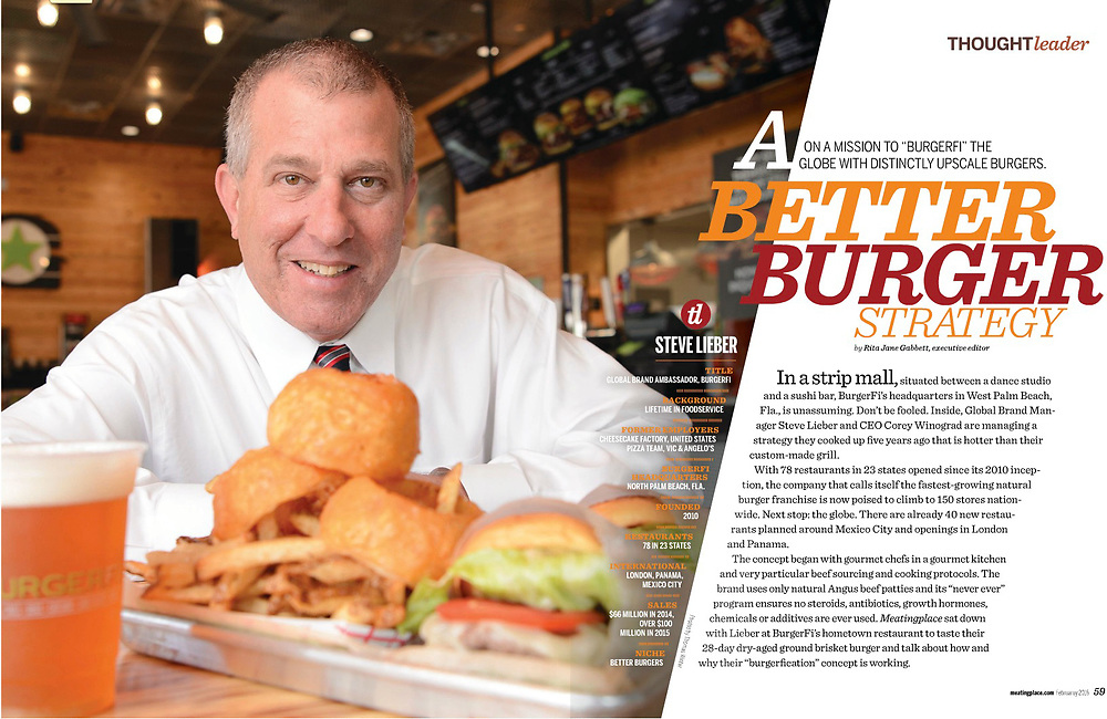 Steve Lieber of BurgerFi photographed at one of the company's restaurants in Jupiter Florida for an Editorial Story