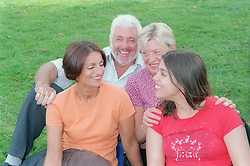 Family sitting in the park,