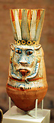 Wine vessel in the shape of the god Bes New Kingdom, 18th Dynasty, around 1360 BC Amarna, ceramics painted