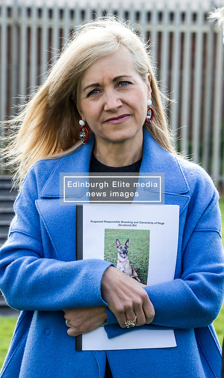 Pictured: Scottish SPCA Chief Executive Kirsteen Campbell<br /> <br /> SNP MSP Christine Grahame was joined at Edinburgh Cat and Dog home by animal welfare organisations and eight-year-old Dutch Shepherd Sasha to highlight her members bill to curb irresponsible dog breeding and buying. <br /> Ger Harley   EEm 4 May 2018