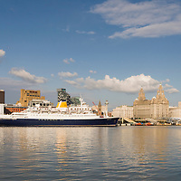 The cruise liner Saga Rose docked against the cruise liner terminal. Smaller than the QE2 but similar.  A lovely ship to see in Liverpool. Its a shame they arent here more often.