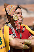 "Priest Kallpa rikuq, shepherd of the llamas for the sacrifice. Inti Raymi ""Festival of the Sun"", Plaza de Armas, Cusco, Peru."