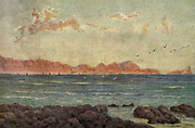 The Southern Part of False Bay, with Cape Hangklip [Here as Hangclip], Cape Town South Africa From the book ' The Cape peninsula: pen and colour sketches ' described by Réné Juta and painted by William Westhofen. Published by A. & C. Black, London  J.C. Juta, Cape Town in 1910