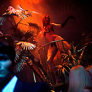 A model dances in the Diagliev Club in Moscow while clients enjoy themselves. Diagilev is Moscow's most expensive nightclub.