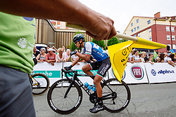 Luis Enrique Lemus Davila of Israel Cycling Academy  and the flag during 1st Stage of 25th Tour de Slovenie 2018 cycling race between Lendava and Murska Sobota (159 km), on June 13, 2018 in  Slovenia. Photo by Matic Klansek Velej / Sportida