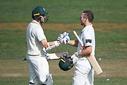 Central Districts Dane Cleaver (right) celebrates scoring a double century in day 2 of the Plunket Shield Cricket match, Central Districts v Northern Districts, McLean Park, Napier, Monday, February 24, 2020. Copyright photo: Kerry Marshall / www.photosport.nz