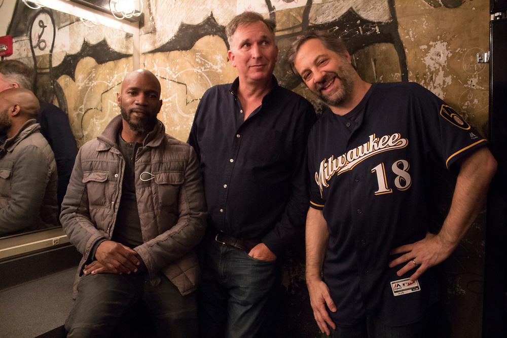 Judd Apatow, Ian Edwards and Wayne Federman at the Turner Hall Ballroom in Milwaukee, WI on November 6, 2018.
