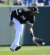 GLENDALE, ARIZONA - FEBRUARY 23:  Eloy Jimenez #74 of the Chicago White Sox fields during the game against the Los Angeles Dodgers on February 23, 2019 at Camelback Ranch in Glendale Arizona.  (Photo by Ron Vesely)  Subject:  Eloy Jimenez