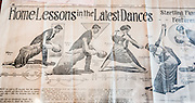 "During the decline of the gold mining town Bodie, a newspaper article illustrates ""Home Lessons in the Latest Dances"" with a couple doing an extreme waltz bend, tango whirl & twirl, split, and wriggle bend (from the San Francisco Chronicle, February 1, 1914). At the Bodie Museum and Visitor Center, view this and many other curious artifacts of bygone eras. Bodie is California's official state gold rush ghost town. Bodie State Historic Park lies in the Bodie Hills east of the Sierra Nevada mountain range in Mono County, near Bridgeport, California, USA. After W. S. Bodey's original gold discovery in 1859, profitable gold ore discoveries in 1876 and 1878 transformed ""Bodie"" from an isolated mining camp to a Wild West boomtown. By 1879, Bodie had a population of 5000-7000 people with 2000 buildings. At its peak, 65 saloons lined Main Street, which was a mile long. Bodie declined rapidly 1912-1917 and the last mine closed in 1942. Bodie became a National Historic Landmark in 1961 and Bodie State Historic Park in 1962."