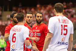 10.04.2016, Ergo Arena, Gdansk, POL, IHF Herren, Olympia Qualifikation, Polen vs Tunesien, im Bild Przemyslaw Krajewski, Mohamed Soussi, Amine Bannour, Michal Jurecki // during the IHF men's Olympic Games handball qualifier between Poland and Tunisia at the Ergo Arena in Gdansk, Poland on 2016/04/10. EXPA Pictures © 2016, PhotoCredit: EXPA/ Newspix/ Tomasz Zasinski<br /> <br /> *****ATTENTION - for AUT, SLO, CRO, SRB, BIH, MAZ, TUR, SUI, SWE only*****