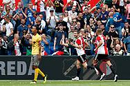 Feyenoord-player Sven van Beek (R) celebrating the goal scored by Feyenoord-player Jan Arie van der Heijden (M) during the Dutch football Eredivisie match between Feyenoord and Excelsior at De Kuip Stadium in Rotterdam, on August 19th, 2018 - Photo Stanley Gontha / Pro Shots / ProSportsImages / DPPI