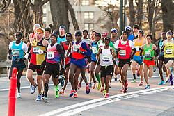 lead pack of elite men, Sambu, Riley, Meb, Mutai
