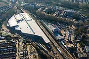Nederland, Utrecht, Utrecht, 07-02-2018; Maliebaan met Station Utrecht Maliebaan, tegenwoordig het Nederlands Spoorwegmuseum.<br /> Former Utrecht Maliebaan station, nowadays the Netherlands Railway Museum.<br /> <br /> luchtfoto (toeslag op standard tarieven);<br /> aerial photo (additional fee required);<br /> copyright foto/photo Siebe Swart