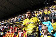 Troy Deeney, the Watford captain leads out his team before k/o. Barclays Premier League, Watford v Southampton at Vicarage Road in London on Sunday 23rd August 2015.<br /> pic by John Patrick Fletcher, Andrew Orchard sports photography.