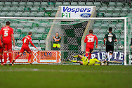 York City's Luke Summerfield scores a penaly past Plymouth Argyle goalkeeper Luke McCormick to pull a goal back to make the score 3-2 to the home team during the Sky Bet League 2 match between Plymouth Argyle and York City at Home Park, Plymouth, England on 28 March 2016. Photo by Graham Hunt.