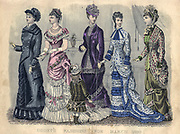 Colour drawing of Godey's women's Fashion for March 1880 from Godey's Lady's Book and Magazine, 1880 Philadelphia, Louis A. Godey, Sarah Josepha Hale,