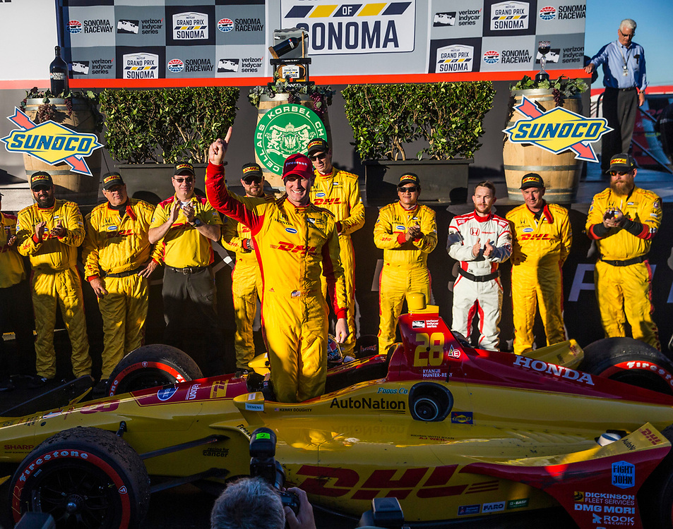 SEPT 16, 2018 Sonoma, CA, U.S.A :  Andretti Autosport driver Ryan Hunter-Reay (28) of United States takes a 1st place win celebrate with his teammate during the GoPro Grand Prix of Sonoma Verizon Indycar Championship at Sonoma Raceway Sonoma, CA  Thurman James / CSM