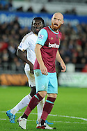 James Collins of West Ham Utd looks on.Barclays Premier league match, Swansea city v West Ham Utd at the Liberty Stadium in Swansea, South Wales  on Sunday 20th December 2015.<br /> pic by  Andrew Orchard, Andrew Orchard sports photography.