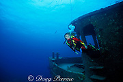 diver explores James Bond Wreck, used in the <br /> filming of 007 movies, Nassau, Bahamas, <br /> ( Western Atlantic Ocean )  MR 180